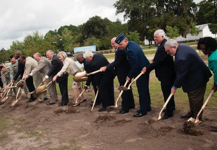 Armstrong President Linda M. Bleicken, center, and Georgia Governor Nathan Deal, to the left, joined more than a dozen dignitaries at a special groundbreaking ceremony for the new Armstrong Liberty Center in Hinesville, Ga.