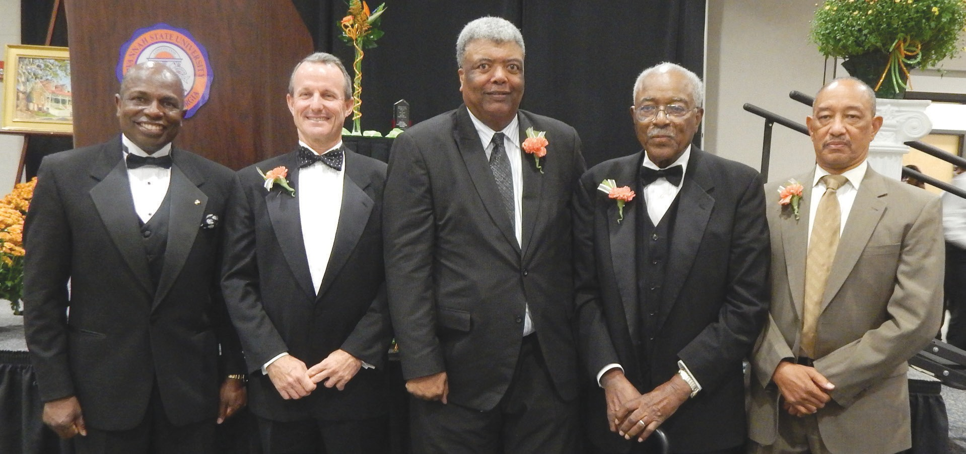 (L-R)The 2014 recipients are: Lt. General (Retired) Walter E. Gaskin, W. W. Law Legacy Award;Rob Gibson, King-Tisdell Cottage Arts Award; Col. George Bowen, Rev. James M. Simms Public Service Award; Walter B. Simmons, Beach Institute Education Award; Dr. Phillip Cooper accepted the Leopold Adler, II Historic Preservation Award for his mother Agatha Cooper, (Posthumous)