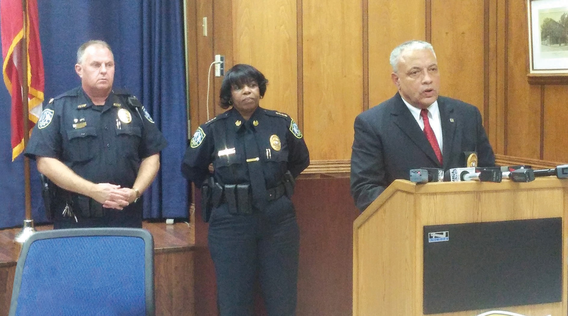 Police Chief Jack Lumpkin addressing the press concerning recent shootings.