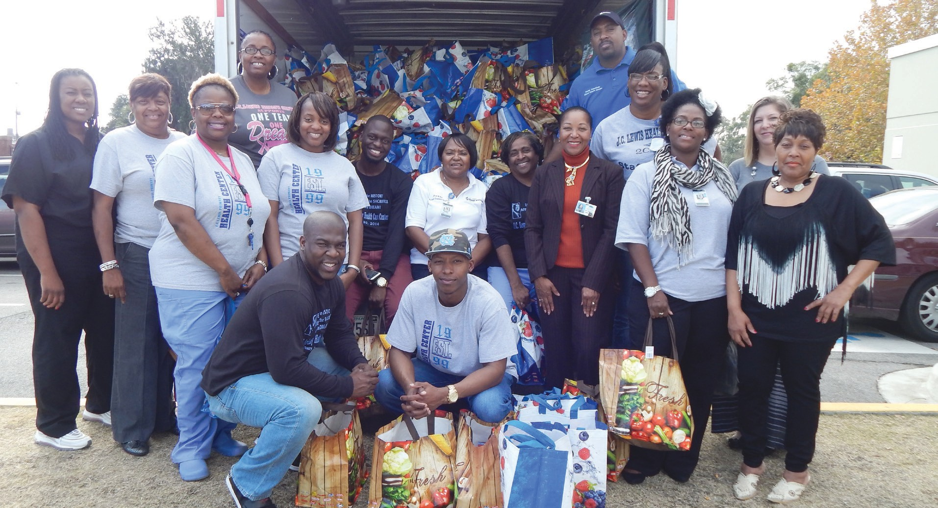 J. C. Lewis Primary Health donates Thanksgiving Bags to the 775 students at Gadsden Elementary