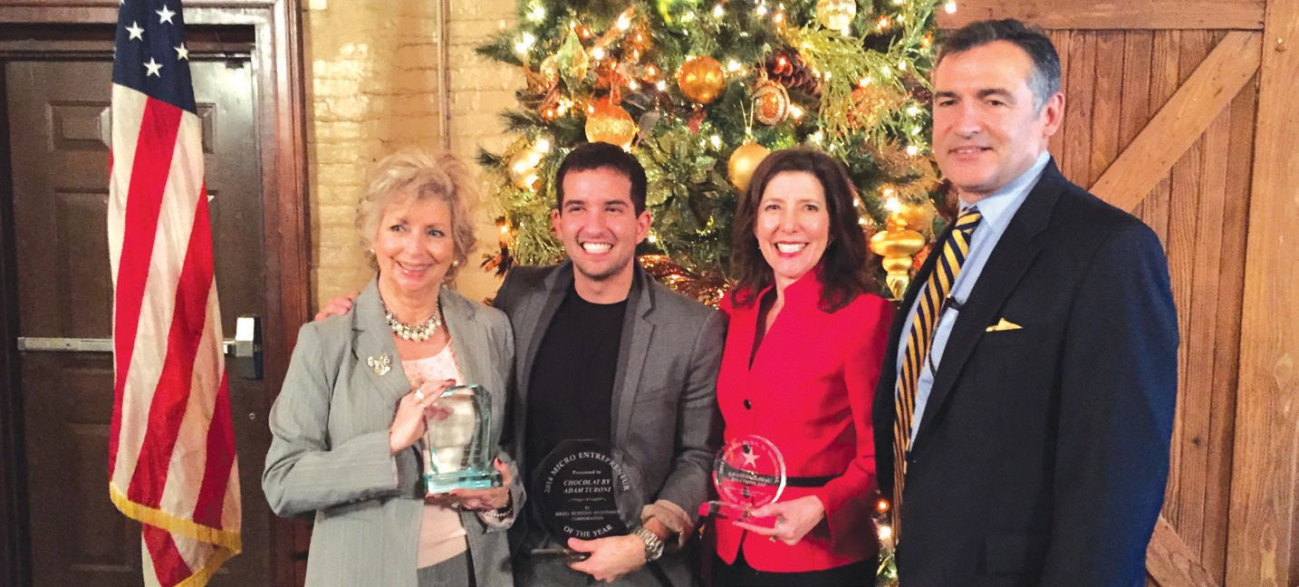 (L-R) Jenny Dent of Visit Savannah (T McCoy Cornerstone Award), Adam Turoni of Chocolat' By Adam (Micro entrepreneur of the Year), Mark and Trudy Sauer of Savannah Global Solutions, LLC (Michael Bunn Sr. Rising Star Award)