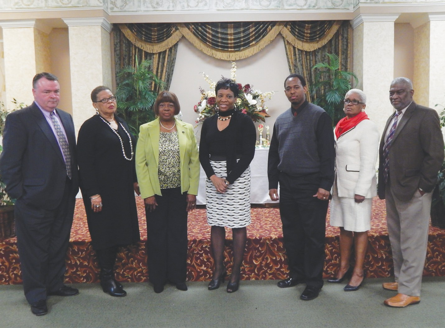 (L- R) Douglas Reed, President; Juanita Adams, 1st Vice Pres.; Clemontine Washington 2nd Vice Pres., Cathy James, Secretary, Fernando Foster, Asst. Secretary; Elaine Campbell, Treasurer; and Alfred Young, Asst. Treasurer.