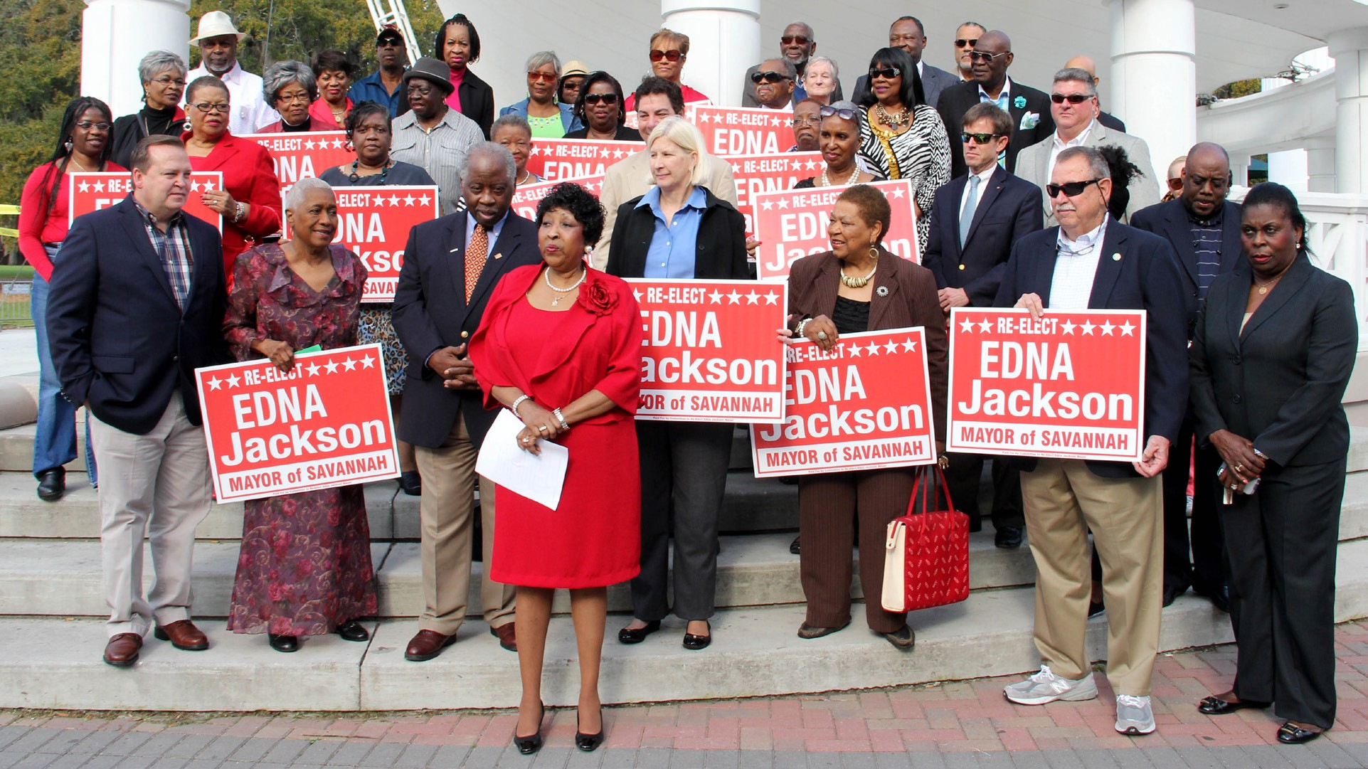 Mayor Edna B. Jackson surrounded by supporters as she announces her bid for re-election.