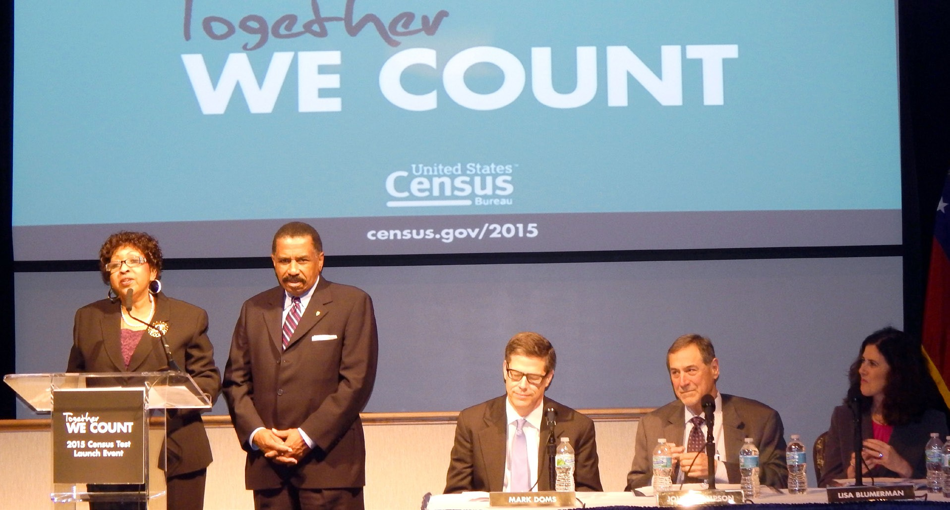 Mayor Edna B. Jackson along with Chatham County Chairman Al Scott announced last Monday that the Savannah area will participate in the 2015 Census Test Questionnaire online. Seated panel included Dr. Mark E. Doms, Under Secretary of Commerce for Economic Affairs; John H, Thompson, Director, U. S. Census Bureau and Lisa M. Blumerman, Assoc. Director for the Decennial Census Programs