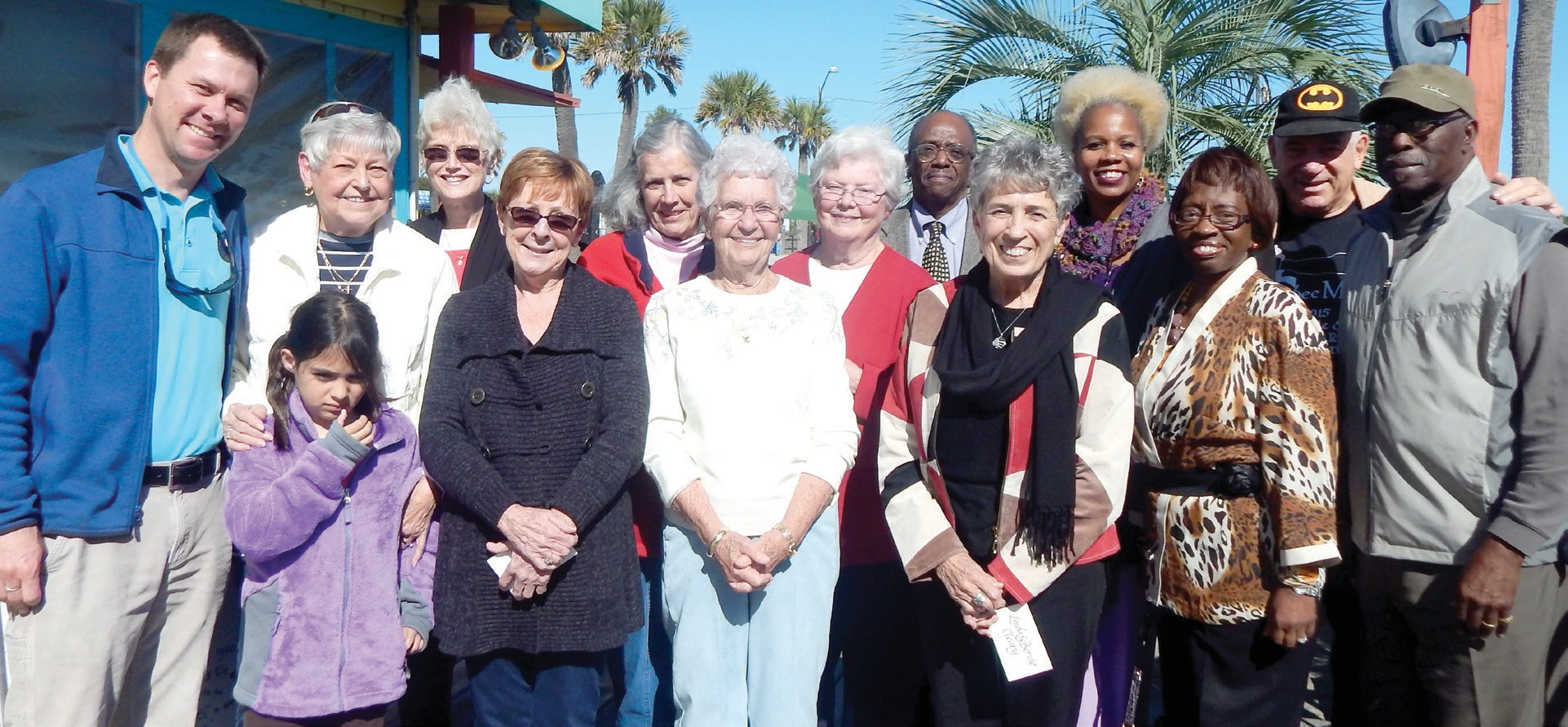 "(L-R) Jason Buelterman- Tybee Mayor; Daughter Buelterman; Phyllis Saunders; Brenda Manucy; Cathy Anderson; Catherine Smith; Genevieve O'Conner- Spokesperson; Mary Kay O'Leary; Mr. Blackshear; Linda Cleary; Julia Pearce- TybeeMLK Coordinator; Carolyn Blackshear- Savannah MLK; Gordon ""Batman"" Varnedoe; and Ernie"