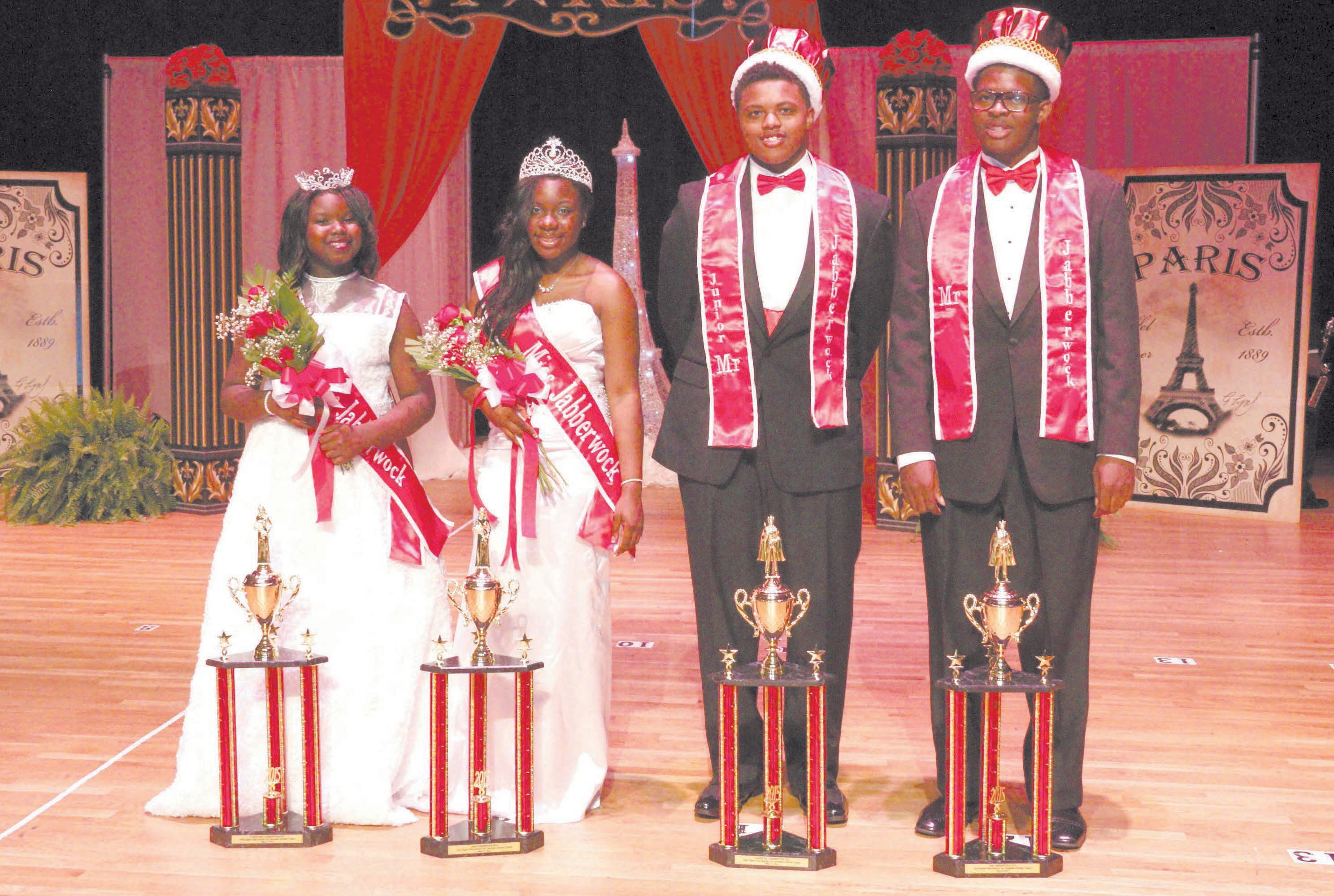 Winners, Jabberwock 2015. L-R: Junior Miss Jabberwock-- Kennedi Brown; Miss Jabberwock--Ji'Kayla Kent; Junior Mr. Jabberwock--Jahleel Larry; Mr. Jabberwock--Jamel Fogle-Washington. Sponsored by Delta Sigma Theta Sorority, Inc., Savannah Alumnae Chapter.