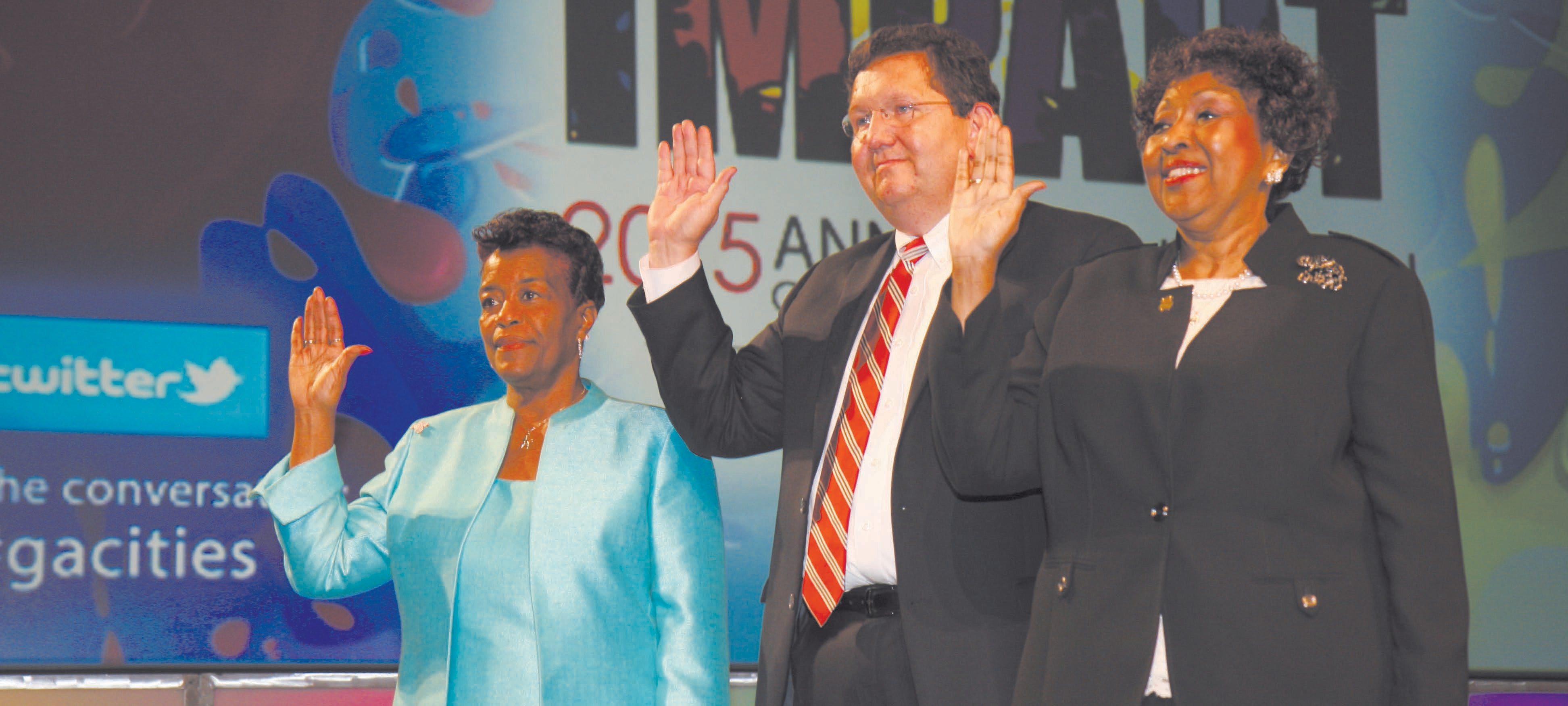 Mayor Jackson is sworn in as 1st Vice President of the Georgia Municipal Association, alongside 2nd Vice President Dallas Mayor Boyd Austin and 3rd Vice President Albany Mayor Dorothy Hubbard.