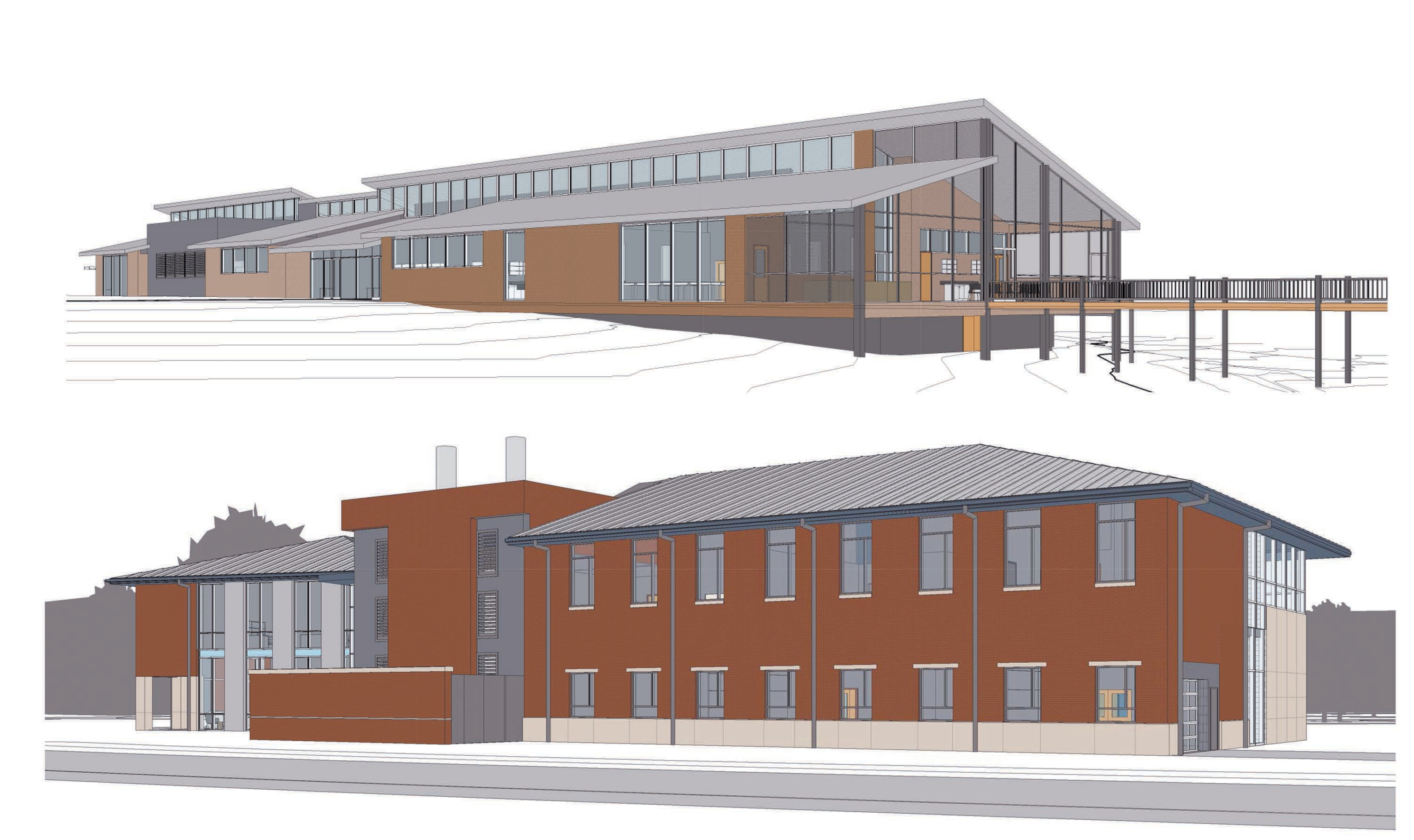 (Top) Rendering of the new marine sciences laboratory facility located on Livingston Ave (Bottom) College of Sciences and Technology (COST) buildings on SSU Campus