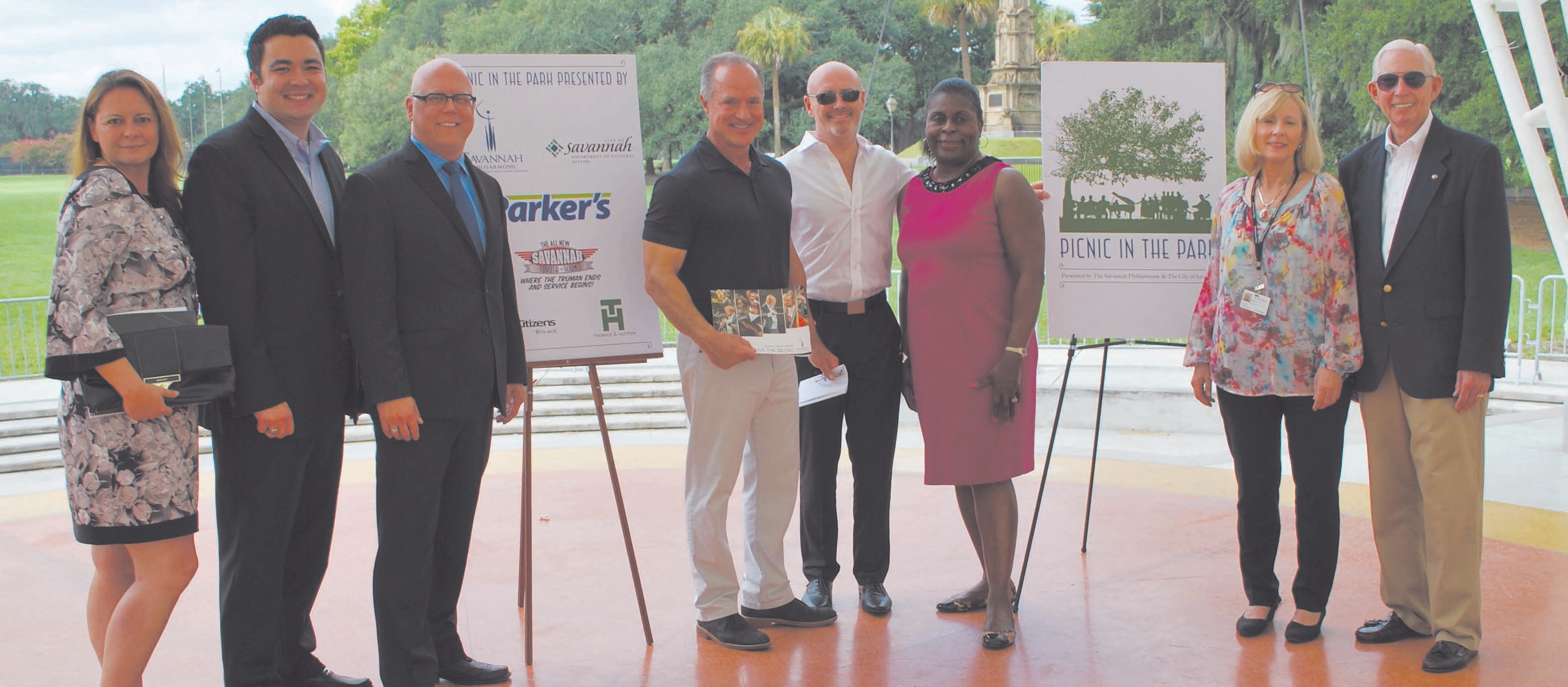 Michele Purington, WSAV; Mike Taft, Toyota of Savannah; Robert Rund, Savannah Philharmonic; Greg Parker, The Parker Companies; Peter Shannon, Savannah Philharmonic; Carol Bell, City of Savannah Alderman; Eileen Baker, City of Savannah Department of Cultural Affairs; Ron Morris, Savannah Philharmonic board chairman