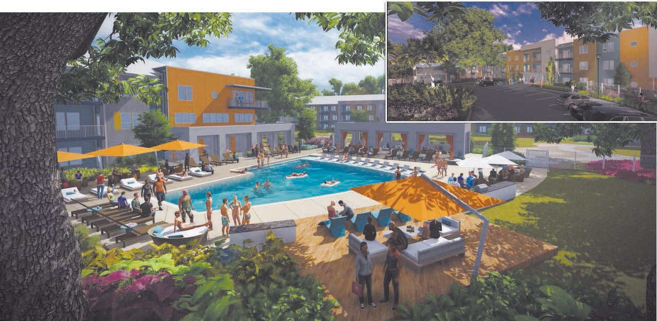 Rendering of oak tree shaded pool at Mariner Grove, Right Corner: Rendering of Mariner Grove Luxury Apartments Entry