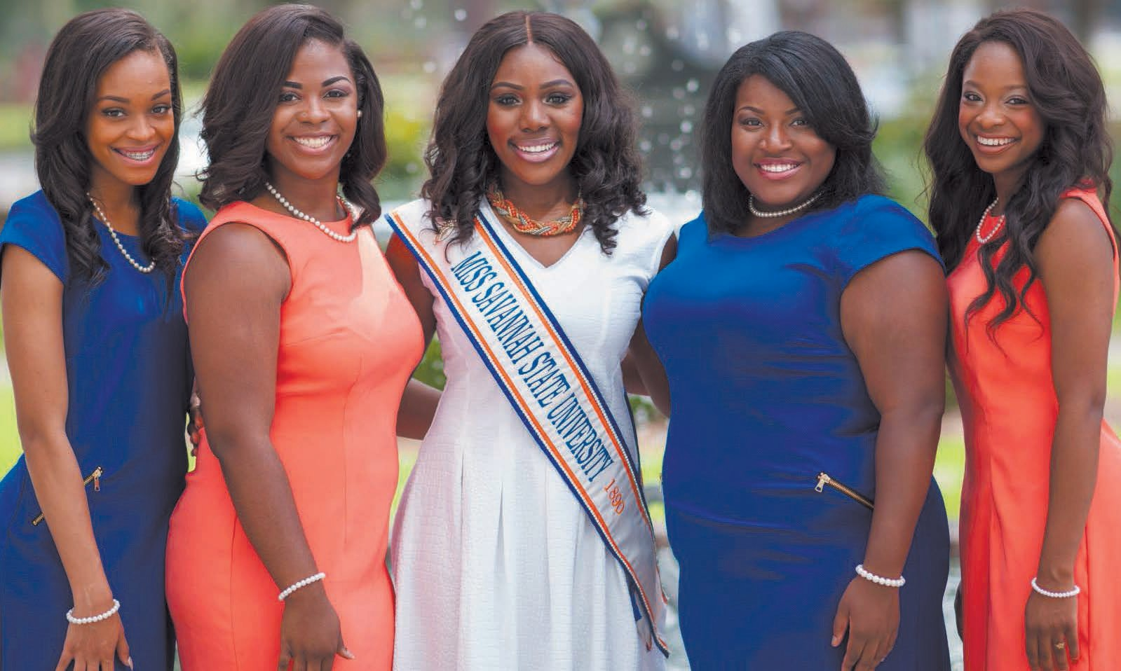 Queen and court (left to right: Miss Freshman, Miss Junior, Miss Savannah State University, Miss Senior, Miss Sophomore)
