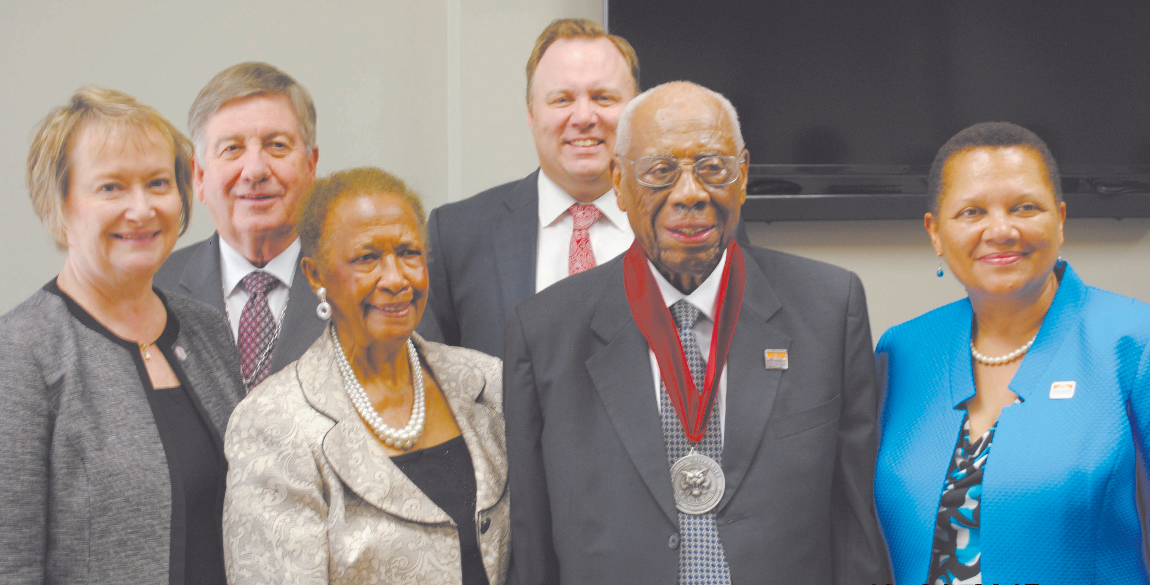 L to R: Dr. Molly Cluskey, Mrs. Maude Hall, Dr. Clyde W. Hall, Dr. Cheryl Dozier Rear L to R: Dr. Stanley Liberty, Jacob Heuser