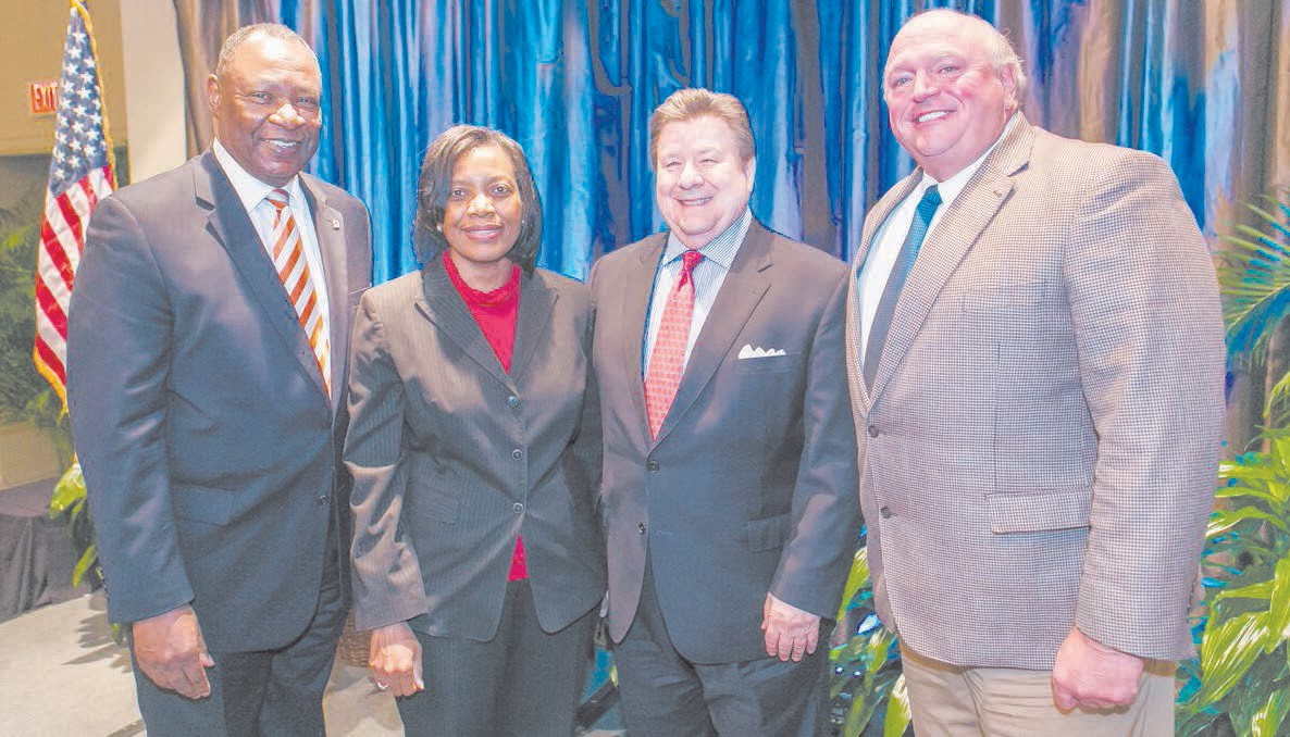 L_ R: Robert E. James - Outgoing Chairman, Cathy Hill – Vice Chairman, Steve Green - Chariman, Kevin Jackson – Secretary/Treasurer