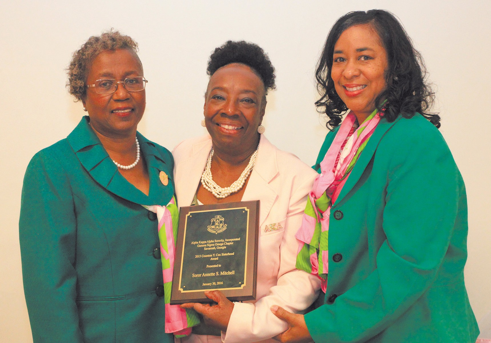 Mary Coleman, Awards Chairman; Annette Mitchell, Recipient of Countess Y. Cox Sisterhood Award; & S. Renee Grant, President of Gamma Sigma Omega Chapter