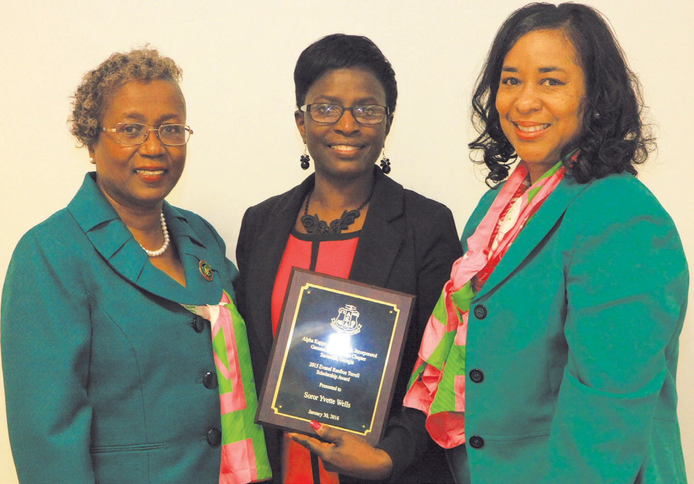 Mary Coleman, Awards Chairman; Yvette Wells, Evanel Renfroe Terrell Scholarship Award; & S. Renee Grant, President of Gamma Sigma Omega Chapter