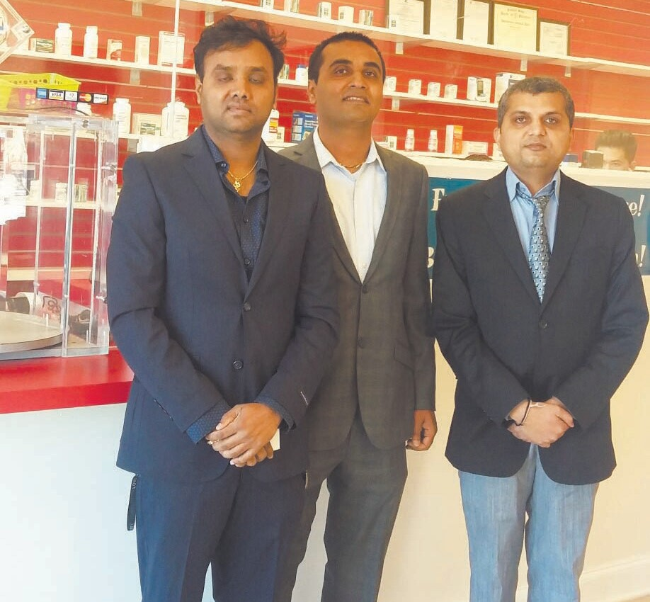 Owners of MLK Pharmacy (Left to Right): Paresh Patel, Kiran Patel, and Dhiren Patel