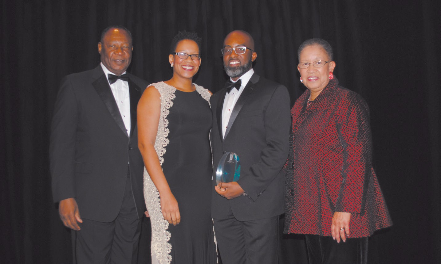 Left to right: Robert James, Rachelle James Gregory, Dr. Frederick Gregory and Shirley B. James