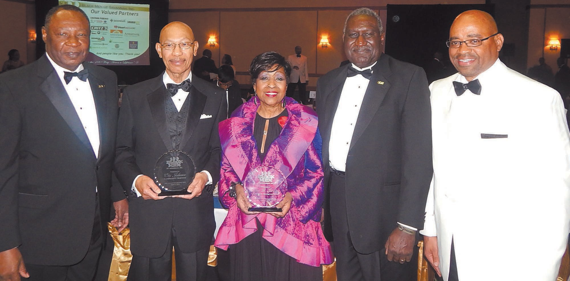 "L-R: Robert E. James, Otis Johnson , Edna Jackson, Dr. Leroy ""Zke"" Zimmerman and Terry Enoch"
