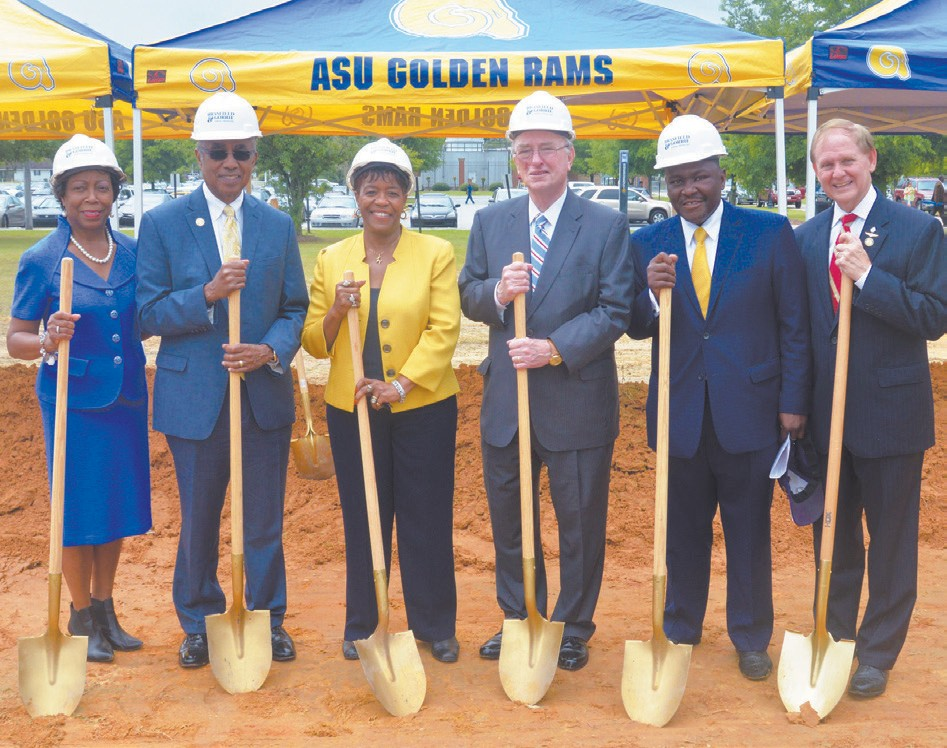L to R: Sen. Freddie Powell Sims, President Arthur Dunning, Mayor Dorothy Hubbard, Chancellor Hank Huckaby, Rep. Winfred Dukes and Rep. Darrel Ealum). Photo credit: Reginald Christian
