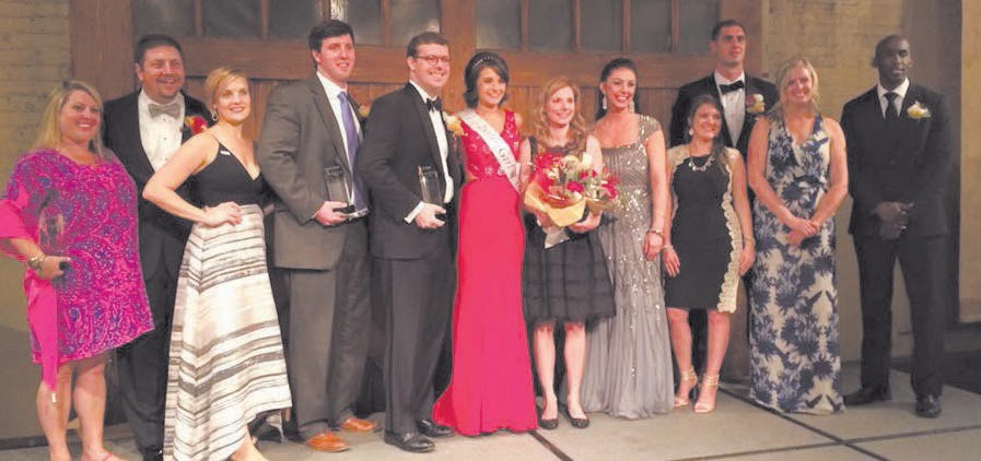 L-R: Shannan Hunt, Adam Cohen, Amanda Payne (wife of candidate Benjamin Couch Payne), Joseph Shearouse, Jr., Man of the Year Jack O'Neill, Girl of the Year Maci, Woman of the Year Amelia Harper, Natalie Moore-Winchell, Kelley Sullivan, Dominick Tambon, Carrie Egerton and Jamal Barrow