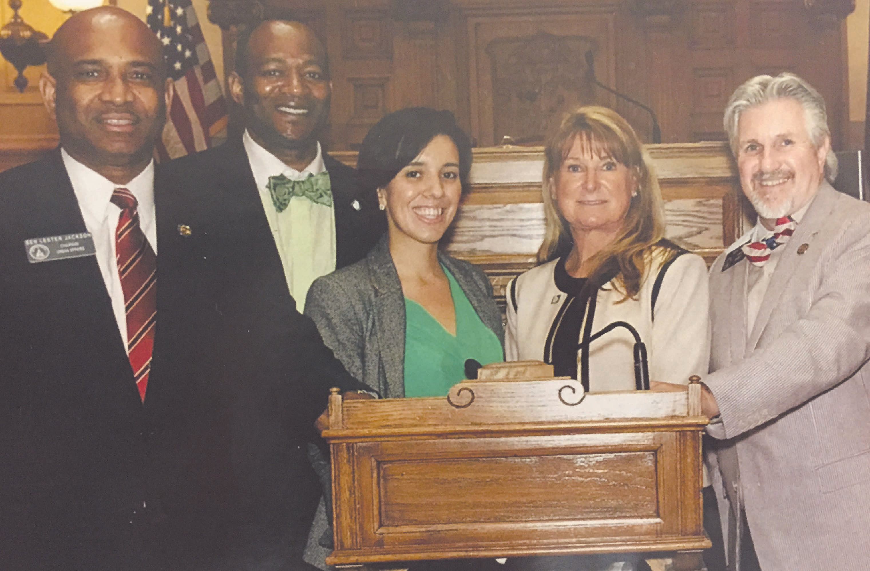 "(L-R): Senator Dr. Lester Jackson, Darrell Brooks, Marie O'Sullivan Montoya, Gale Macke, and Senator Greg Kirk at The Passage of Substitute SB 319 Adding ""Diagnosis"" to the LPC Scope of Practice."
