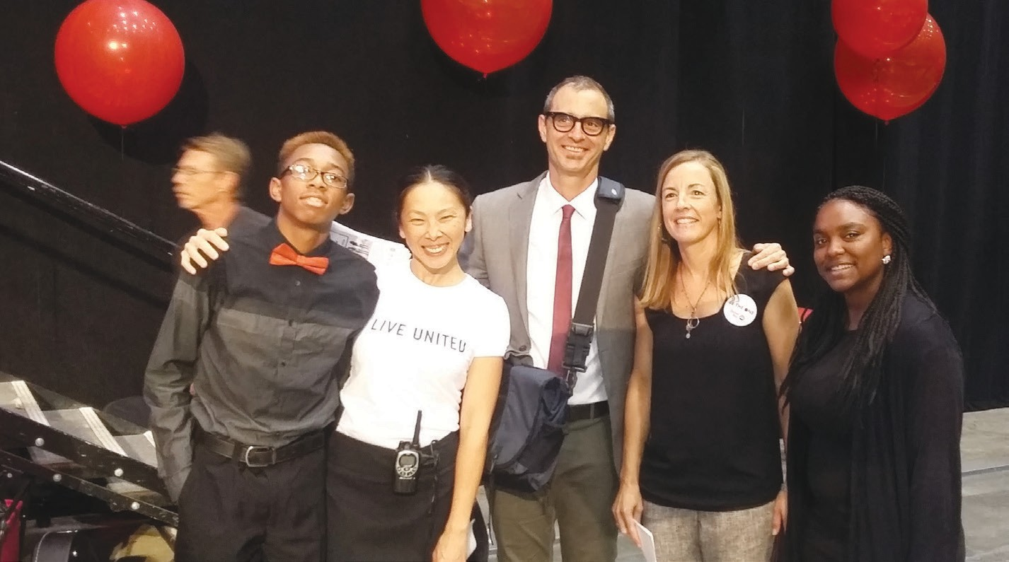 Samuel Poole (student in Deep Center's Block by Block), Lisa Clark (United Way of the Coastal Empire), Dare Dukes (Executive Director of the Deep Center), Florence Slatinsky (Board Member of the Deep Center), and Abreona Batts (student in Deep Center's Block by Block)