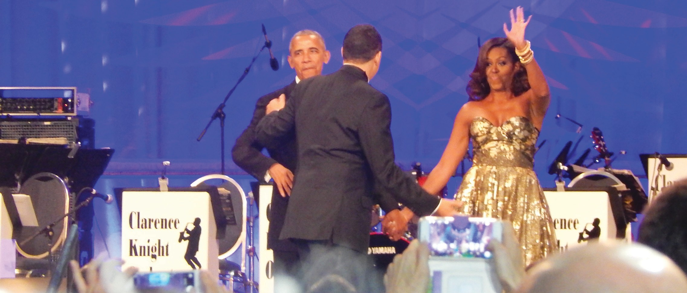 President Barak Obama and First Lady Michelle Obama enter the stage . Pressident Obama delivered his last speech before the Congressional Black Caucus