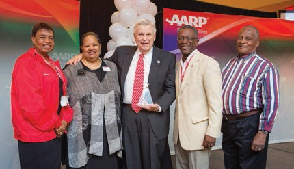 l to r AARP President-Elect Alicia Georges, AARP Georgia State Director Debra Tyler-Horton, 2016 AARP Georgia Andrus Awardee Tom Umstead, AARP Georgia State President Lee Baker, and 2012 AARP Georgia Andrus Awardee Gary Cecil.