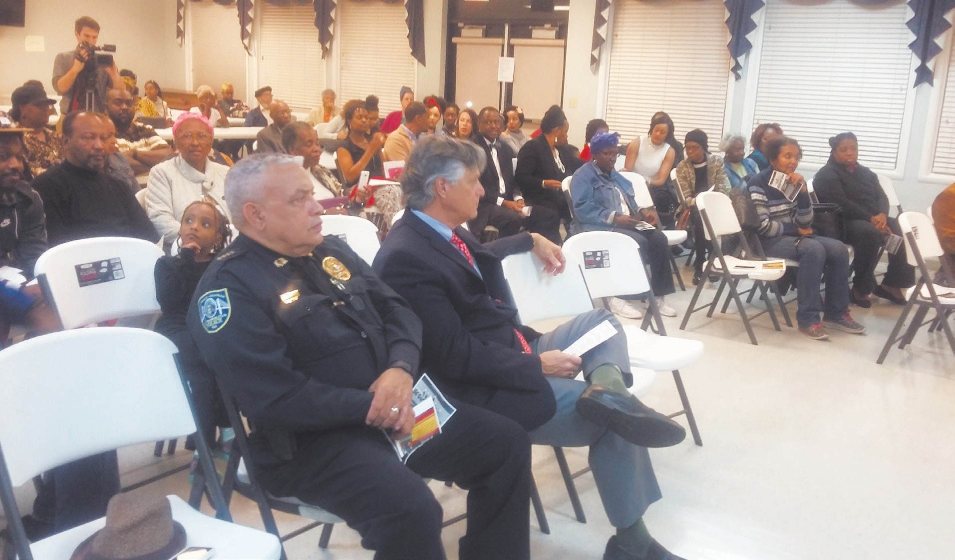 SCMPD Chief James Lumpkin shown with Mayor Eddie DeLoach at the opening ceremony for 3rd Annual Kawanzaa Celebration. Over 100 people were in attendance.