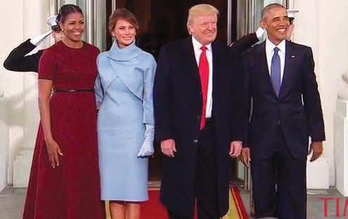 Former President and First Lady Barack and Michelle Obama with Newly Elected President and First Lady Donald and Melania Trump