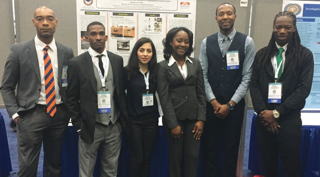 From Left to Right: Terrence Staten, Jamelle Jaudon, Roxana Javid, Ph.D., Sarah Dillard, Brandon Davis and Niegel Middleton